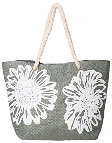 AIREE FAIREE Strandtasche Damen Schultertasche Shopper Sommer Tasche 46 x 33 CMS Blumen-Muster (Grau)