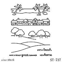 耐久性 かわいい動物フクロウ建築シリコーンクリアスタンプ/シール用スクラップブッキングDIYクリップアート/アルバム装飾スタンプ工芸品 創造性 (Color : Stamp ST 737)