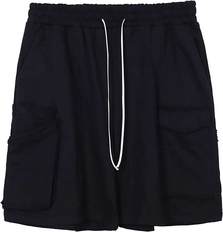 LZJDS Solid Color Mult Pocket Men's Overalls Shorts Casual Five Point Pants Street Trend Loose Drawstring Pants