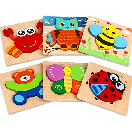 Wooden Puzzles for 1 2 3 Year Olds, 6 Pack Wooden Jigsaw Puzzles Set for Toddlers, Animal Puzzle Educational Toys for 1 2 Year Old Boy Girls