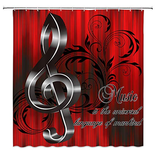 Music Note Shower Curtain Creative Music with G-Clef Key Instrument Rhythm Song Ornamental Personality Cool Rustic Vintage Wooden Board Bathroom Home Decor with Hooks,