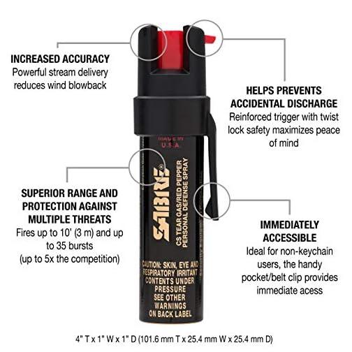 SABRE Advanced Compact Pepper Spray with Clip – 3-in-1 Formula (Pepper Spray, CS Tear Gas & UV Marking Dye), Police Strength Self Defense Spray, 10-Foot (3 m) Range, 35 Bursts – Easy Access Belt Clip 4
