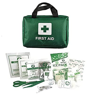 Home Treats First Aid Kit Bag. Essential For Home, Work, Sports, Office, Travel, Car, Camping.Includes Emergency Blanket, Ice Packs, Eyewash, Bandages, Plasters, Wound Pad, Eye Pad, 90pc, 100pc, 210pc by Home Treats