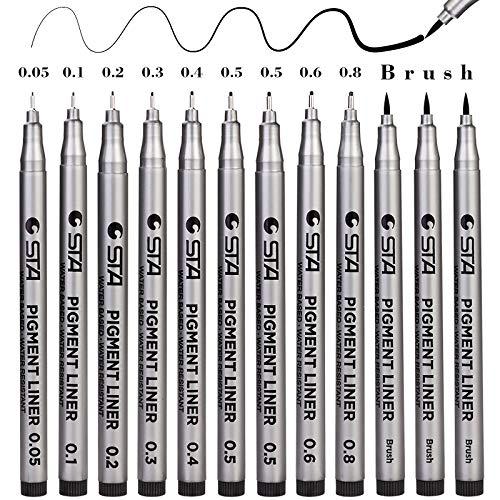 Fineliner Penne, 12 Pezzi Nero Pigment Liner Micro Penne da Disegno per Schizzi, Pigmento Pennarelli Disegno Redazione Ufficio Documenti Comic Manga Scrapbooking e Scuola Utilizzando