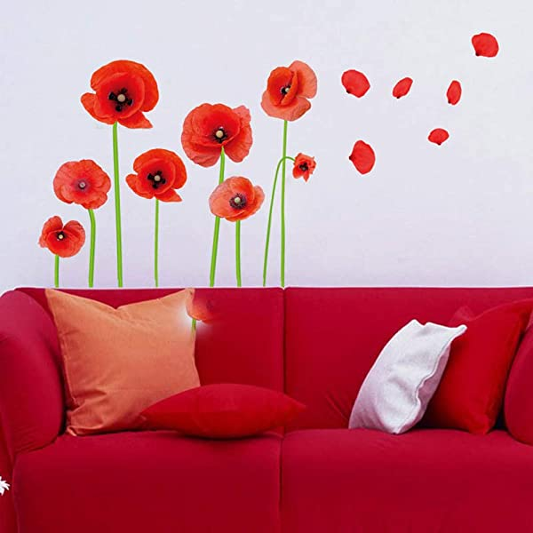 Esmee DIY 红色罂粟花美丽的花朵藤蔓粘贴墙壁贴花客厅卧室儿童房托儿所