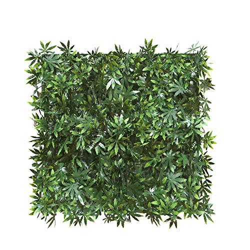 ECOOPTS Künstlicher Efeuzaun 50,8 x 50,8 cm Lorbeer, Buchsbaum, für den Innen- und Außenbereich, Garten, Sichtschutz, Zaun Ahorn grün 6 Stück