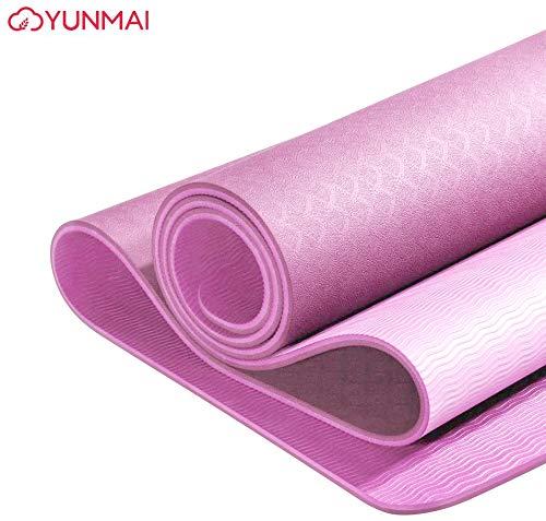 YUNMAI TPE Geschmacklose Yogamatte mit 6 mm Beutel Doppelseitige, Nicht passende Matten Pilates Umweltfreundliches Workout Gym 183X61X0.6