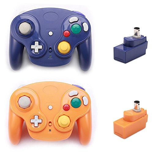 Poulep 2 Packs Classic 2.4G Wireless Controllers Gamepad with Receiver Adapter for Nintendo Wii U Gamecube NGC GC (Purple and Orange)