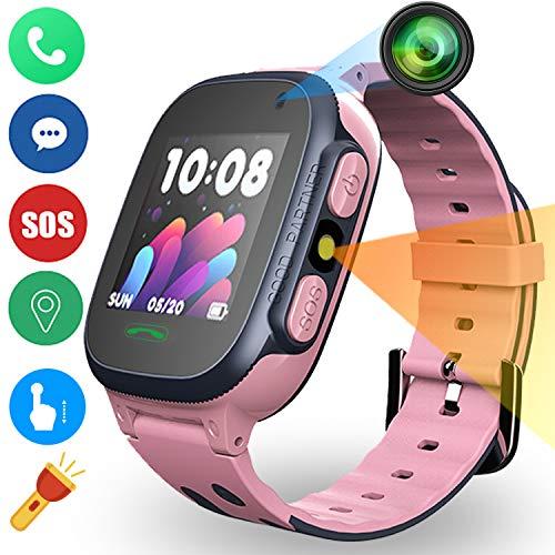 PTHTECHUS Smartwatch Orologio per Bambini, LBS Area di Sicurezza Tracker Orologio per Bambini con Fotocamera SOS Torcia Sveglia Gioco Orologio Orologio Ragazzo Ragazza Regalo (Rose)