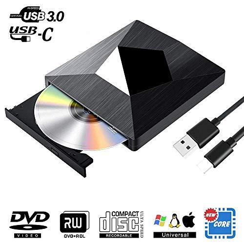 YKSBOOT Unidad Externa de CD DVD, USB 3.0 y Unidad óptica Tipo C Reproductor Externo de CD/DVD Lector Universal Grabadora de CD-RW/DVD-RW para Mac OS, portátiles, PS, XP / 10/8/7