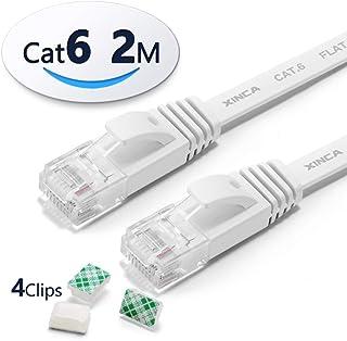 XINCA LANケーブル イーサネットケーブル CAT6準拠 ウルトラフラットケーブル やわらか アクセスポイント等に適用います 2m ホワイト