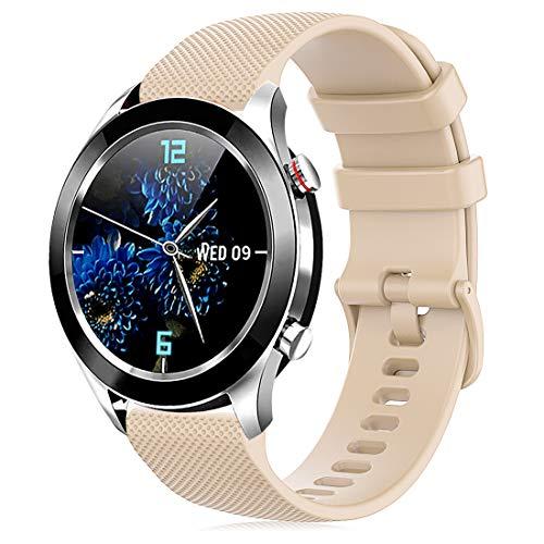 Onedream Correa Compatible para Garmin Vivoactive 4S Vivomove 3S, Pulsera de Repuesto Band Deportivo Correas del Reloj Silicona Accesorios 18mm para Hombre y Mujer, Beige (Sin Reloj)