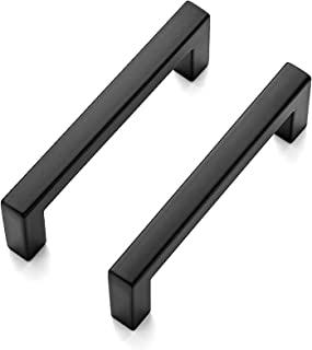 Ravinte 5 Pack Solid 3 InchCenter to CenterSlim SquareBarDrawer HandlesKitchen Cabinet Handles Black Drawer PullsKit...