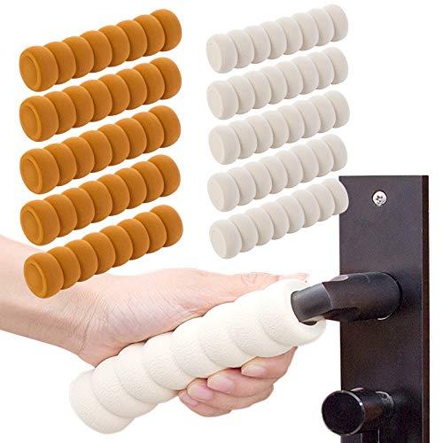 Yisscen 10 stück Türgriff-Schutz Schaumstoff Türgriff Puffer, für Tür- oder Fenstergriffe Schutz Kind Wand Möbel, Fester Schaumstoff, Beige+Braun Schutzhülle Griff-Abdeckungen