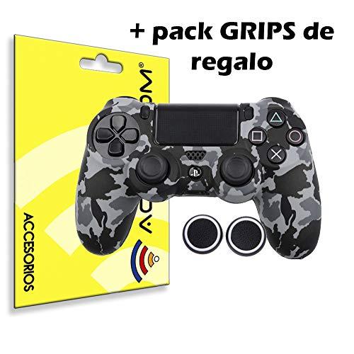 actecom® Funda Carcasa + Grip Silicona Camuflaje Gris Mando Sony PS4 Playstation 4