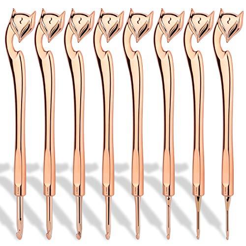 Coopay Juego de agujas de ganchillo, con forma ergonómica, juego de ganchillo para principiantes, adultos, 8 ganchos de ganchillo Golden Fox de 2,5 a 6,0 mm, extra largos de 19,5 cm.