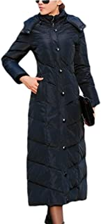 Women Winter Maxi Down Coat with Removable Hood Padded Long Outwear Parka