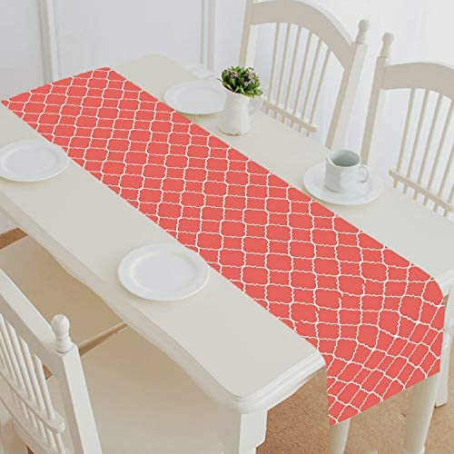Coral Quatrefoil Home Decor Cotton and Linen Table Runner Kitchen Dining Room Supplies Size product image