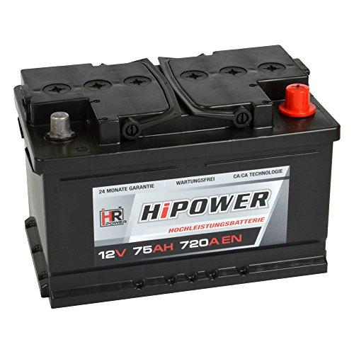 HR HiPower Autobatterie 12V 75Ah 720A/EN Starterbatterie ersetzt 60Ah 62Ah 65Ah 68Ah 70Ah 71Ah 72Ah