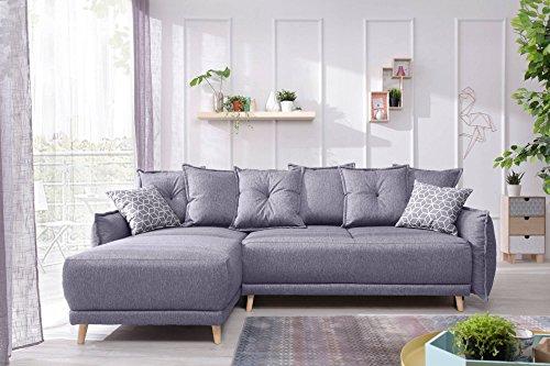 Bestmobilier - Lena - Canapé d Angle scandinave réversible Convertible - 235x155x90cm Couleur - Gris Clair