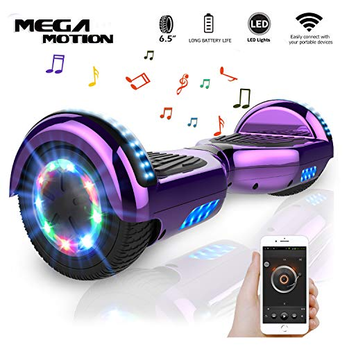 Mega Motion Self Balance Scooter 6,5' - 2018 Elektro Scooter E-Skateboard - Scooter - UL zertifizierten 2272 LED - Räder mit LED Licht -Bluetooth Lautsprecher – 700W Motor