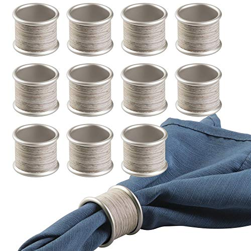 mDesign Round Modern Rustic Metal Napkin Rings for Home, Kitchen, Dining Room, Dinner Parties, Luncheons, Picnics, Weddings, Buffet Table - 12 Pack - Satin/Gray Wood Finish