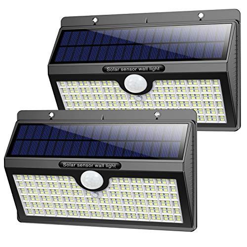 Luz Solar Exterior, Pxwaxpy【286 LED & 2600 Lumen】 Luces Solares con Sensor de Movimiento Foco Solar Exterior, 2500mAh Lámpara Solar Impermeable IP65 con 3 Modos Inteligentes para Jardín (2 Paquete)