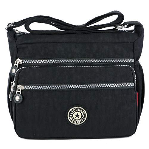 MINGZE Mujer Bolsos de Moda, Impermeable Mochilas Bolsas de Viaje Bolso Bandolera Sport Messenger Bag Bolsos Mano para Escolares Nylon Casual Shopper (Negro)