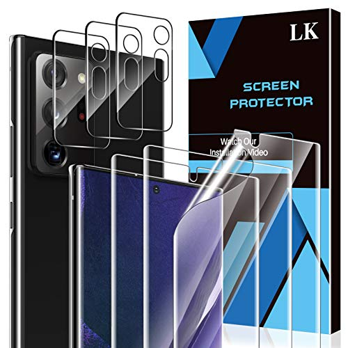 6 Pack LK 3 Pack Screen Protector + 3 Pack Camera Lens Protector Compatible with Samsung Galaxy Note 20 Ultra, Positioning Tool, in-Display Fingerprint Support, Flexible TPU Film