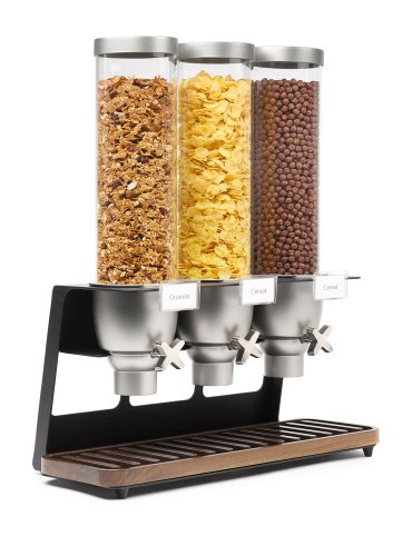 Rosseto EZ520 Triple Container EZ-SERV Table-Top Cereal Dispenser with Walnut Tray, 3.9 Gallon