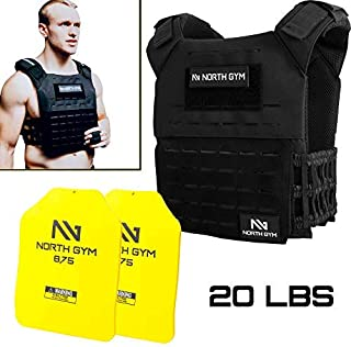 Northgym Adjustable Weighted Vest/Incl. 2 Innovative Moulded Weights for Best fit / 14lbs / 20lbs