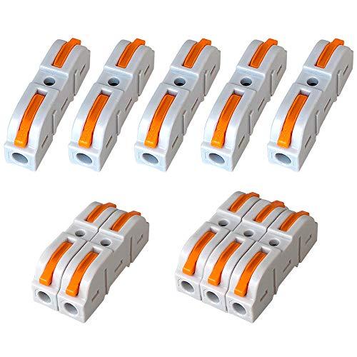 QitinDasen 16Pcs KV211 Palanca Tuerca Cable Conector, 1 en 1 fuera Bilateral 2 Puertos Compacto Conductor Conector, Rápido Cable Conector Resorte Bloque Terminal (Combinación Libre)