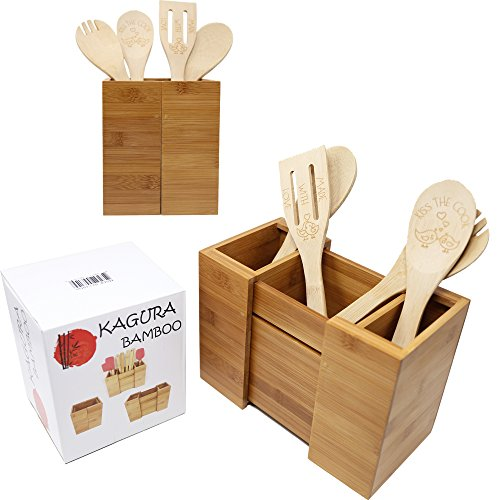 Bamboo Expandable Utensil Holder Organizer Constructed from 100% Real Bamboo Wood● Durable ●Dividers for Flatware and Kitchen Utensils