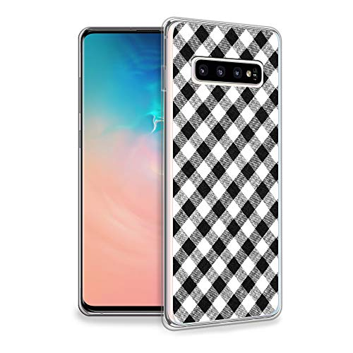 HelloGiftify Samsung S10 Plus Case, Black and White Plaid Pattern TPU Soft Gel Protective Case for Samsung Galaxy S10 Plus