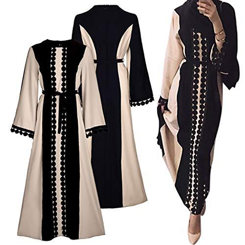 ZOYLINK Womens Muslim Dress Maxikleid Spitzenbesatz Abaya Kleid Muslim Kaftan