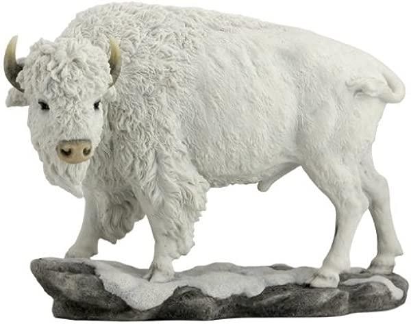 10 75 Inch Large Bison Standing Decorative Statue Figurine White