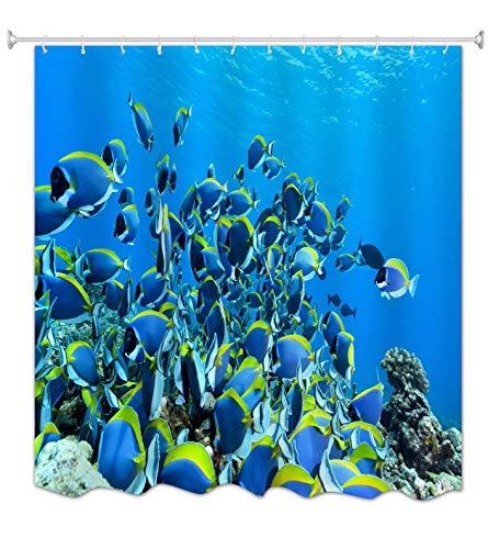 A.Monamour Tenda da Doccia Impermeabile in Poliestere Tessuto Oceano Blu Mare Profondo Pesce Azzurro Che Nuota Insieme Antimuffa Lavabile Resistente Tende per Doccia Tenda della Vasca da Bagno