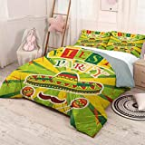 HELLOLEON (King) Fiesta 3-Pack (1 Duvet Cover and 2 Pillowcases) Bedding Sprites with Sombrero Maracas Mustache Mexican Hand Drawn Illustration Polyester Green Yellow Vermilion