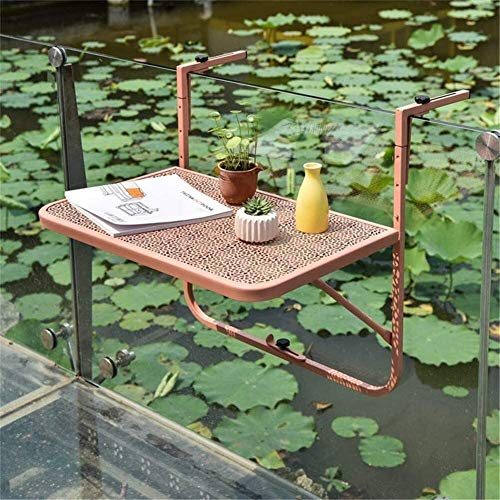 WENLI Outdoor Side Tables Balcony Folding Deck Table Attachable Balcony Table Adjustable Height Hanging Table Laptop Desk Bar Counter with Foldable Portable Patio Railing Garden Patio Reading Table