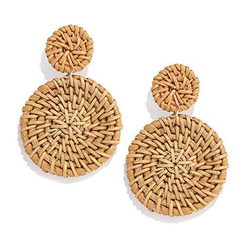 CEALXHENY Rattan Earrings for Women Handmade Straw Wicker Braid Drop Dangle Earrings...
