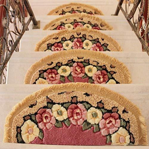 XOCKYE 15pcs Tappeto Adesivo Stair Gradini Zerbino Non-Slip Copertura di Protezione Passo Tappetini tappeti per Scale Interne a chiocciola@Rosa_26x70cm
