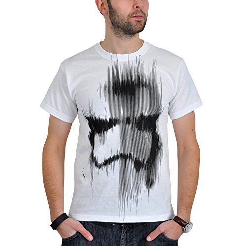 Star Wars the Force Awakens Adult Male Distressed Stormtrooper, T-Shirt Homme, Blanc-Blanc, x-Large