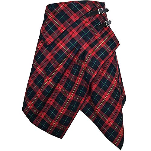 The Celtic Ranch Tartan Skirt, Women's Plaid Skirt with Pockets, Ladies' Traditional Scottish Skirts (Red Rose/Medieval Blue, Large)