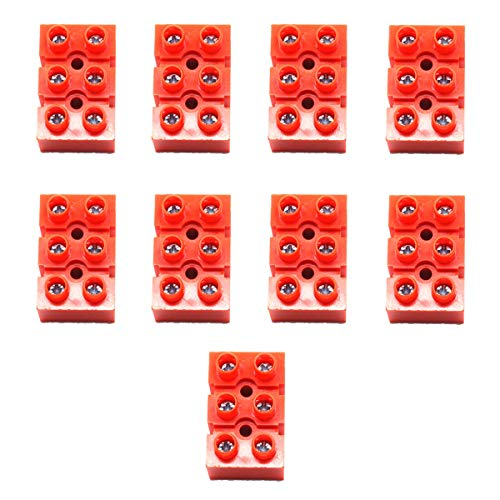 Dasunny 9Pcs Double Row Screw Terminal Block 3 Position Terminal Barrier Block Connector for All Wide Use