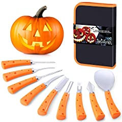🎃 【Professional Carving Knife Set】High-quality professional pumpkin carving tools set, including a pumpkin scoop, three different shapes of saws, five professional carving tools, this set of tools can meet all the design needs of making a Jack-O'-Lan...