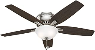 Hunter Indoor Low Profile Ceiling Fan with light and pull chain control - Newsome 52 inch, Brushed Nickel, 53315