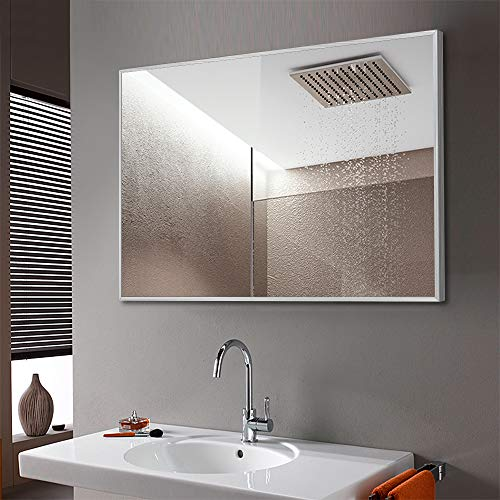 "NeuType Wall-Mounted Mirror Rectangular Hanging Mirror Metal Framed Wall Mirror, Best for Bathroom, Washroom, Bedroom, Living Room (Silver, 36""x24"")"