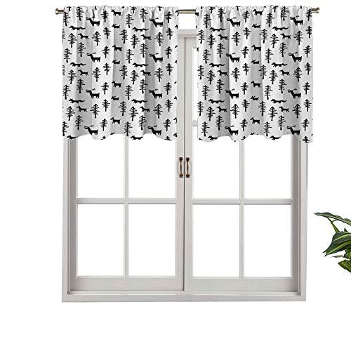 Hiiiman Cenefa corta recta, inspirada en el espíritu navideño, figura de reno de pino, conejos, juego de 1, 137 x 45 cm para ventanas de cocina