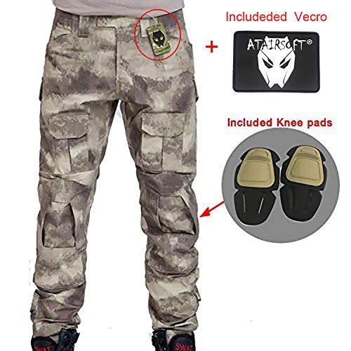 WorldShopping4U Hommes Paramilitaire Pantalon de Pantalon Cargo avec genouillères pixelisé pour Tactique Militaire Armée Airsoft Paintball Large Atacs