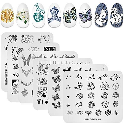 KADS 7 Pcs Nail Art Estampage Plaques Fleur Papillon Océan Imprimer Manucure Modèles avec 1 Pc Stamper Polonais (6 Plates+1 Stamper)